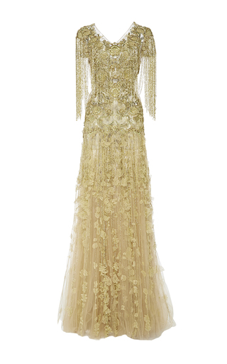 Medium marchesa gold tulle a line gown with floral embroidery