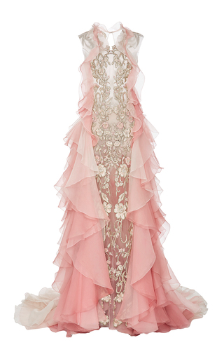 Medium marchesa pink ombre gown with organza layers