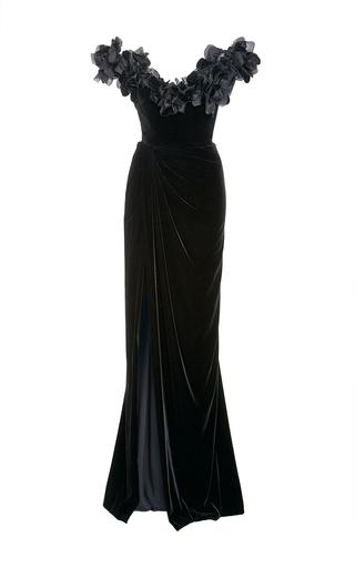 Medium marchesa black velvet off the shoulder column gown