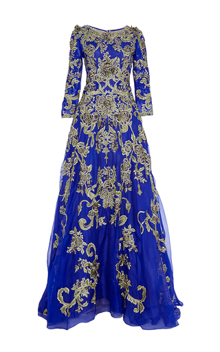 Medium marchesa blue organza a line gown with floral embroidery