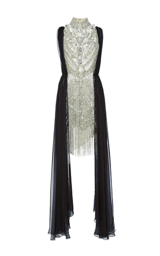 Medium marchesa silver antique silver jeweled necklace cocktail dress