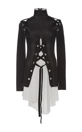 Medium proenza schouler black lace up long sleeve knit top