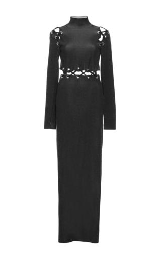 Medium proenza schouler black lace up long sleeve knit dress