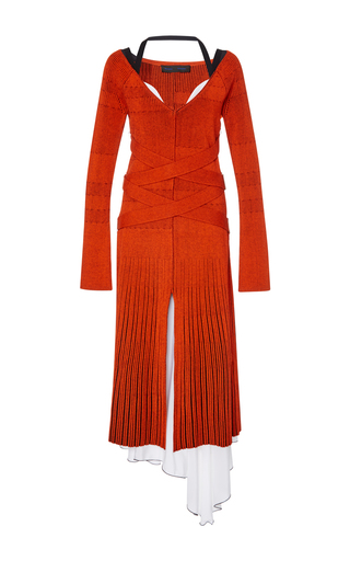 Medium proenza schouler orange fine rib knit long sleeve dress