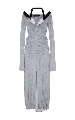 Medium proenza schouler light grey fine rib v neck knit dress