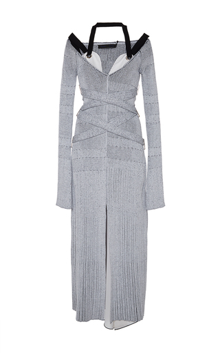 Medium proenza schouler light grey fine rib v neck knit dress