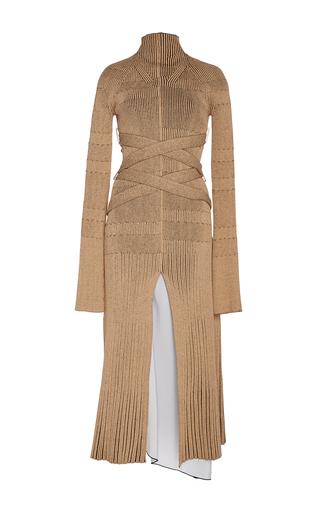 Medium proenza schouler tan fine rib long sleeve turtleneck dress