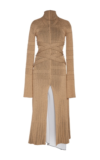 Medium proenza schouler tan fine rib long sleeve turtleneck dress