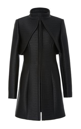 Medium brandon maxwell black corvo texture coat storm shield coat