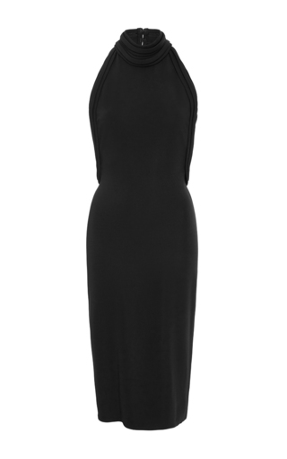 Medium brandon maxwell black knit gauguin backless halter midi dress