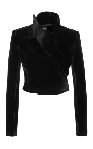 Medium brandon maxwell black velvet moto jacket