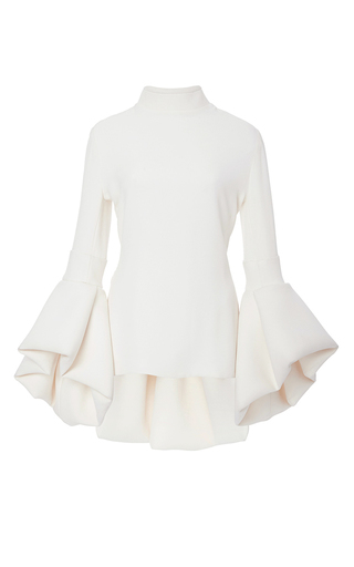 Medium brandon maxwell ivory crepe bell sleeve peplum top