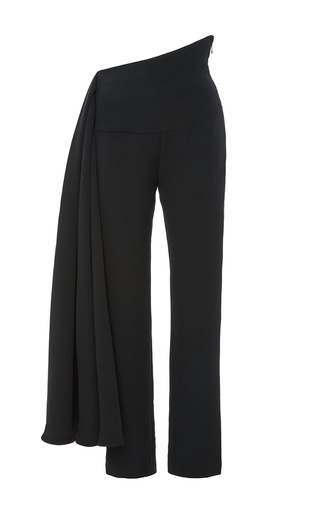 Medium brandon maxwell black crepe silk pant with waist sash