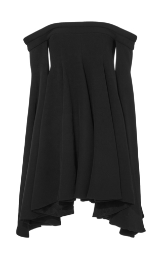Medium brandon maxwell black crepe silk off the shoulder swing dress