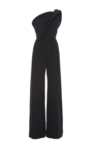 Medium brandon maxwell black crepe silk one shoulder jumpsuit