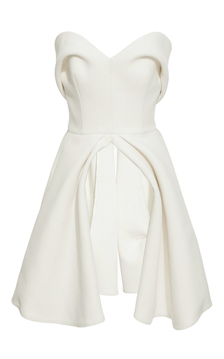 Medium brandon maxwell ivory crepe silk sweetheart bodice top