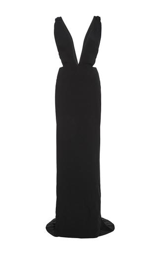 Medium brandon maxwell black suiting cady deep v gown