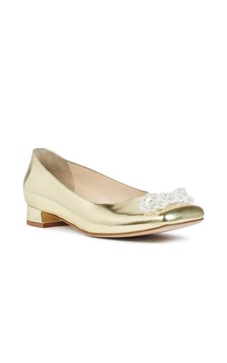 Medium simone rocha gold beaded metallic gold ballet flat