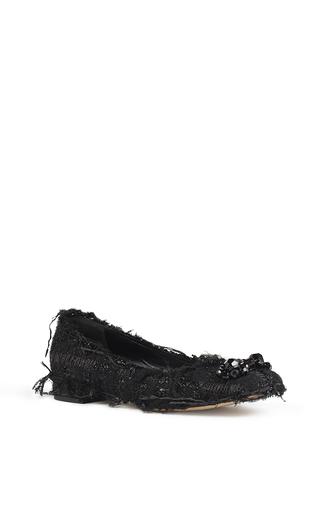 Medium simone rocha black beaded tweed ballet flat