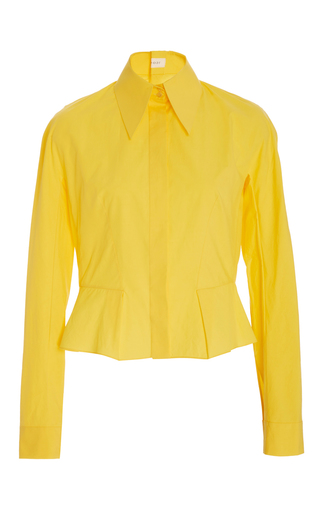 Medium delpozo yellow flared hem buttondown shirt