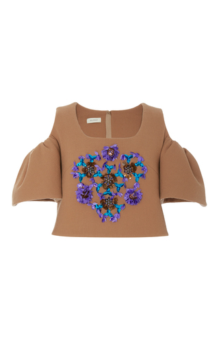Medium delpozo tan cut out embroidered top