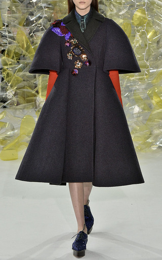 A Line Embroidered Coat by DELPOZO Now Available on Moda Operandi