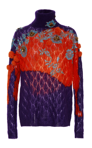 Medium delpozo purple embellished turtleneck sweater