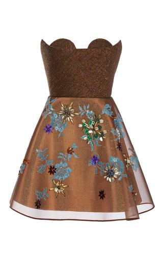 Medium delpozo brown sweetheart mini dress