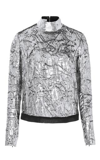 Medium delpozo silver long sleeve velvet top