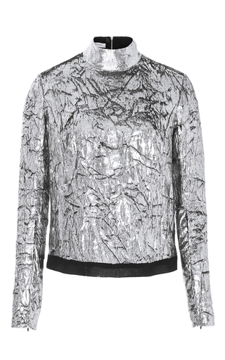 Medium delpozo silver long sleeve velvet top