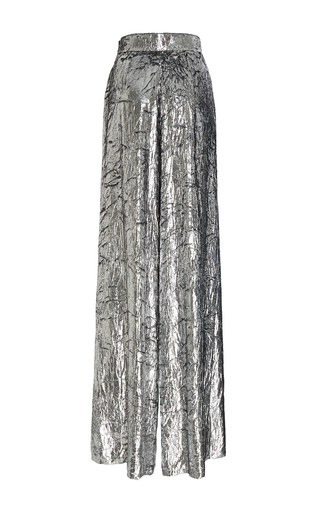 Medium delpozo silver wide legged velvet trousers