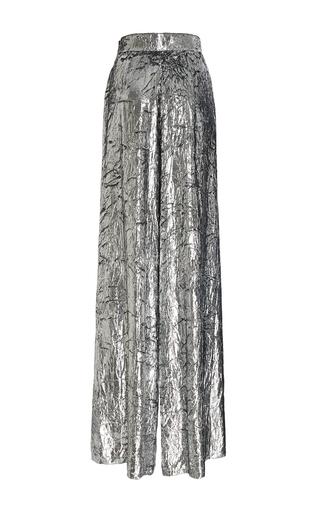 Medium delpozo silver wide legged velvet trousers