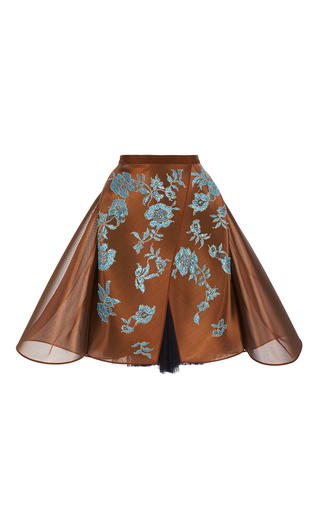 Medium delpozo brown metallic floral mini skirt