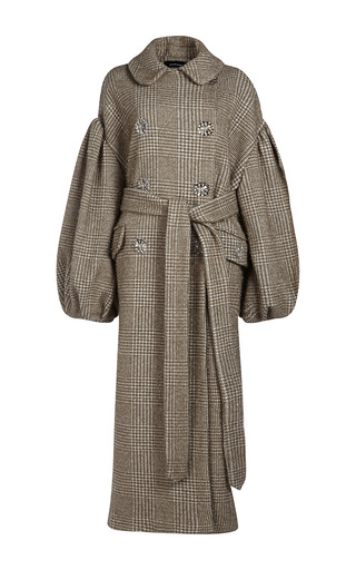 Medium simone rocha khaki sparkle houndstooth double breasted coat