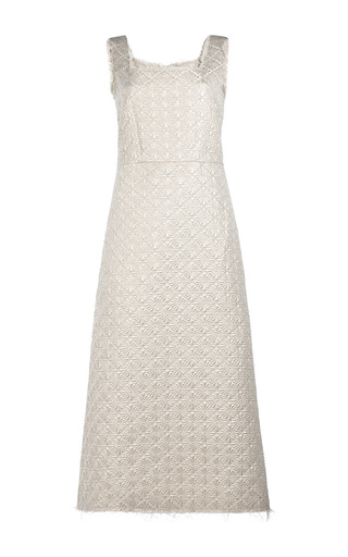 Medium simone rocha gold wallpaper square neck dress