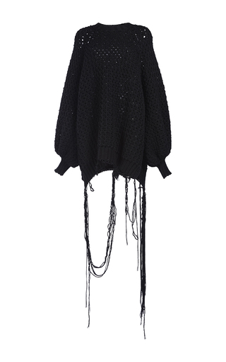 Medium simone rocha black chunky knit raw hem jumper