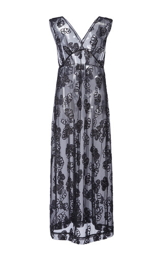 Medium simone rocha black tinsel embroidered slip dress