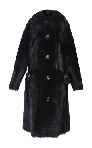 Medium simone rocha black shearling coat