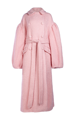 Medium simone rocha pink sparkle wool double breasted coat
