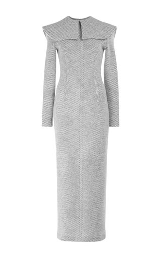 Medium emilia wickstead light grey jacqueline collared midi dress