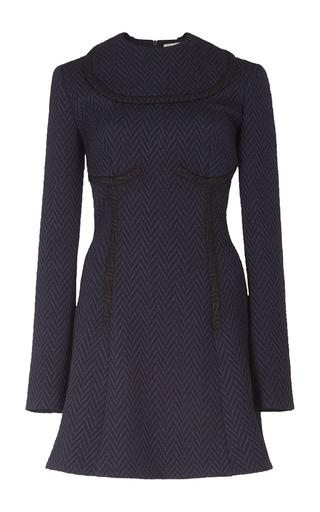 Medium emilia wickstead navy june pleated contoured dress