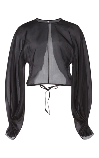 Medium emilia wickstead black dana oversized sleeve blouse
