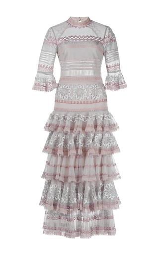 Medium temperley london light grey light grey pirate sleeve ruffle sheer dress
