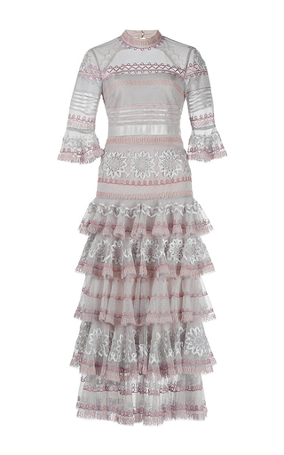Medium temperley london light grey light grey pirate sleeve ruffle sheer dress