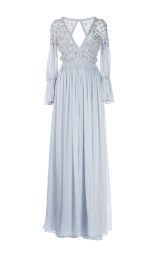 Medium temperley london light grey crossbone lattice front slit dress