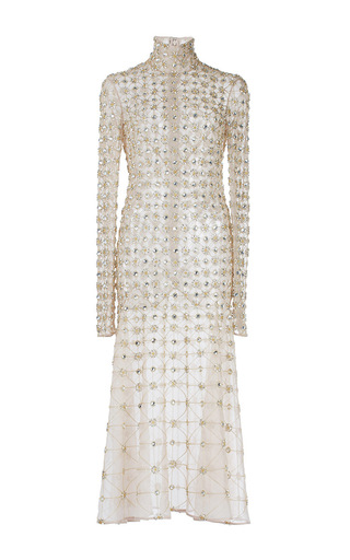 Medium temperley london nude crossbone lattice embellished dress