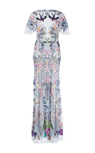 Medium temperley london print light blue sail sheer ruffle sleeve dress