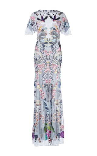 Medium temperley london print light blue sail sheer ruffle sleeve dress