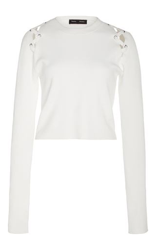 Medium proenza schouler off white long sleeve lace up pullover