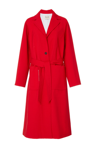 Medium sea red red belted sundry wool overcoat